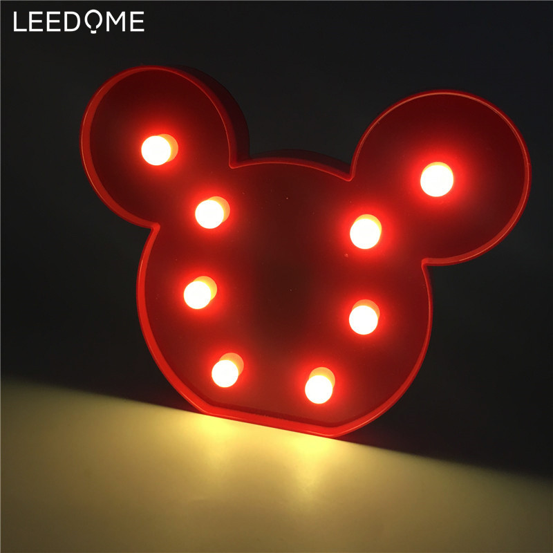 Leedome Cute Led 3D Mickey Light Warm White Night Lights Switch Control Xmas Bedroom AA Battery Children Bedside Home Wall Lamp