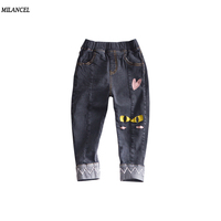 MILANCEL 2018 New Girls Jeans Straight Children S Denim Pants Cute Cat Boys Jeans Spring Boys