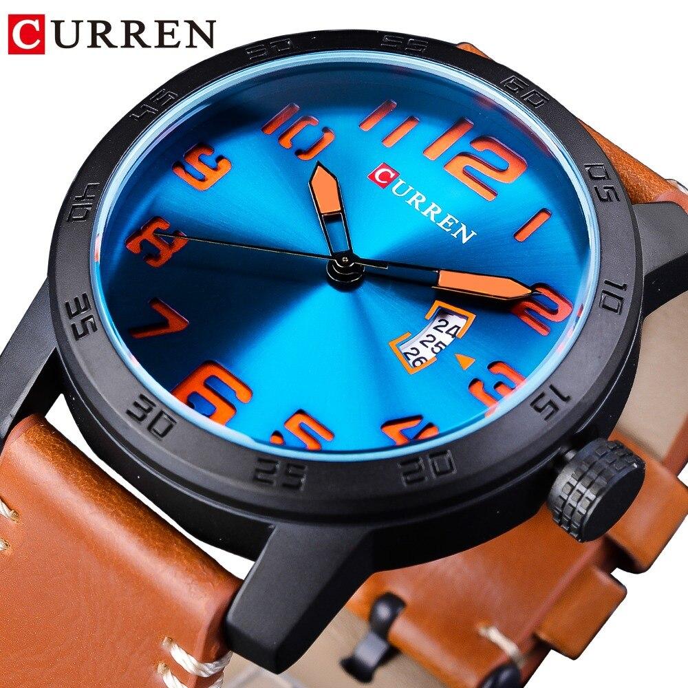 CURREN Blue 3D Ocean Dial Calendar Display Brown Genuine Leather Belt Men Sport Quartz Wrist Watch Top Brand Luxury Montre Homme