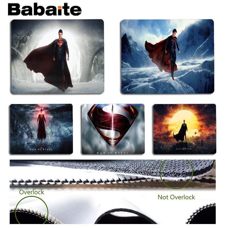 Babaite Top Quality Man Of Steel Large Mouse pad PC Computer mat Size for 18x22cm 25x29cm Rubber Mousemats