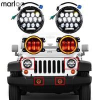 Marloo Set For 07 18 Jeep Wrangler JK JKU 7 Headlight DRL 75W 4 Inch LED