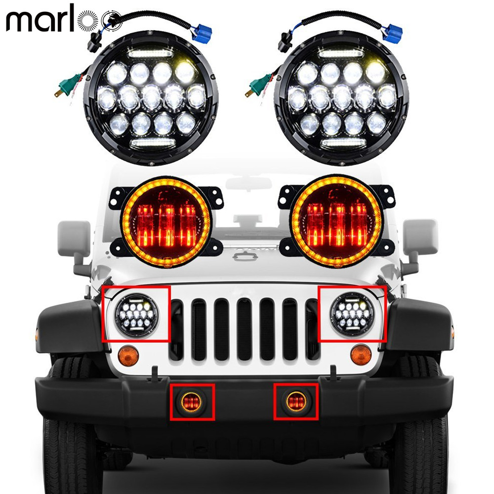 Marloo Set For 07-18 Jeep Wrangler JK JKU 7 Headlight DRL 75W + 4 Inch LED Fog Lamp Amber White Halo Turn Signal RED Devil Eyes demon eyes 12v 35w 7 inch cob halo hid xenon led headlight headlamp with demon eyes drl canbus ballast for jeeep wrangler 07 15