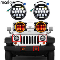 Marloo Set For 07 18 Jeep Wrangler JK JKU 7 Headlight DRL 75W + 4 Inch LED Fog Lamp Amber White Halo Turn Signal RED Devil Eyes