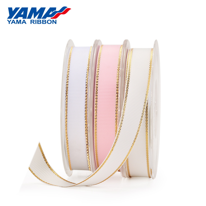 YAMA Gold Metallic Edge Grosgrain Ribbon 6mm 9mm 16mm 25mm 38mm Wide Price 100yards Diy Gift Packing Decoration Wedding Crafts