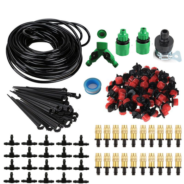 25m Garden DIY Automatic Watering Micro Drip Irrigation System Garden Self Watering Kits with Adjustable Dripper Spray Cooling