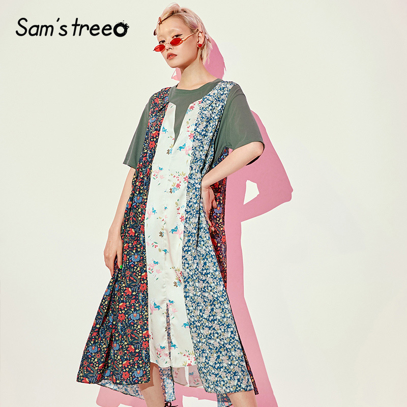 Samstree 빈티지 패널 패치 워크 도시 집시 여성 휴가 드레스 2019 여름 꽃 인쇄 보헤미아 여성 일일 드레스-에서드레스부터 여성 의류 의  그룹 2