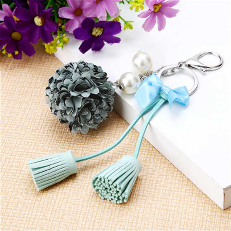 Anel chave da flor de pano Chiffon borla chaveiro carro casal Lady saco de ornamentos de moda criativa ornamentos florais charme chaveiro