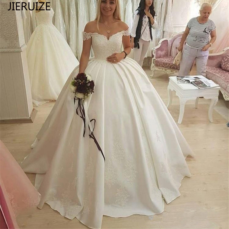 JIERUIZE White Satin Lace Appliques Ball Gown Wedding Dresses 2019 Off The Shoulder Backless Bride Dresses Cheap Wedding Gowns