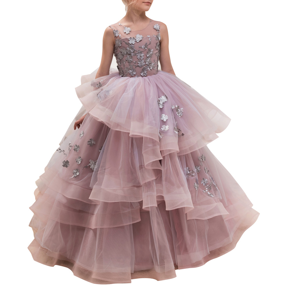 Cpb0004 European and American  Children Autumn Party Clothes Lace Walk Show Host Performance Princess Girl Evening DressCpb0004 European and American  Children Autumn Party Clothes Lace Walk Show Host Performance Princess Girl Evening Dress
