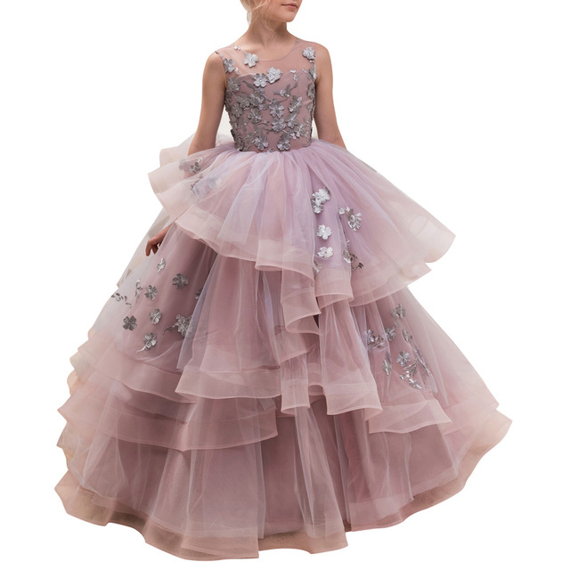 Cpb0004 European and American  Children Autumn Party Clothes Lace Walk Show Host Performance Princess Girl Evening Dress