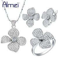 T001 925 Sterling Full White Austrain Crystal Micro Pave Flower Necklace Earrings Ring 7 8 9