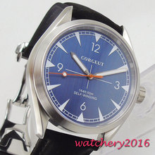 цена 41mm Corgeut Blue Dial Stainless steel Case 21 Jewels Miyota Automatic Movement men's Watch онлайн в 2017 году