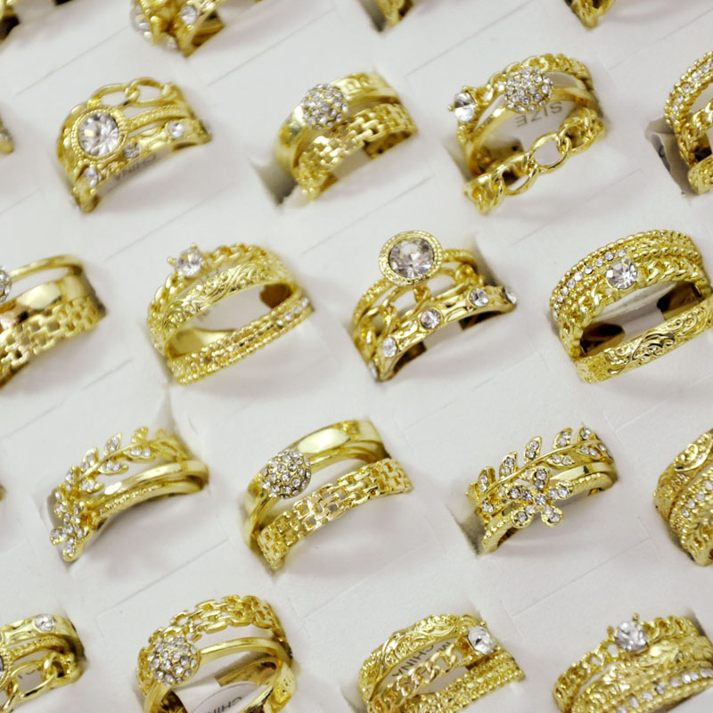 150Pieces 50Sets Fashion 3 in 1 Zircon GoldPlated Rings Sets For Women Female Wholesale Jewelry Bulks