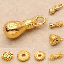 1 pc Handmade Jewelry Accessories Gold-plated Pendants Beads Pocket Peanut Chinese Knot Bells charm(China)