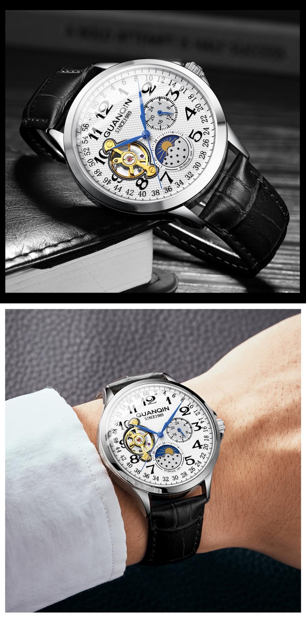 2019 Fashion GUANQIN Mens Watches Top Brand Luxury Skeleton Watch Men Sport Leather Tourbillon Automatic Mechanical Wristwatch