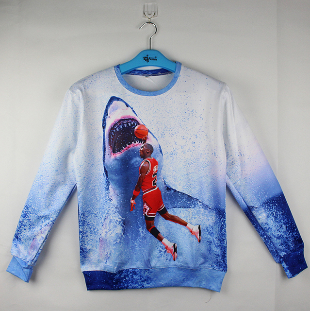e2c4be9b21019c Hot sale printing 3d sweatshirt Michael Jordan 23 slam dunk to the shark  big mouth jordan