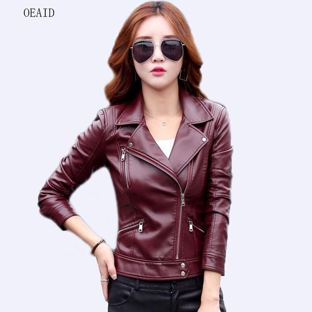 81893028c23c0 Motorcycle Leather Jacket Women Leather Coat Outerwear 2019 Spring Ladies  Jackets And Coats Short