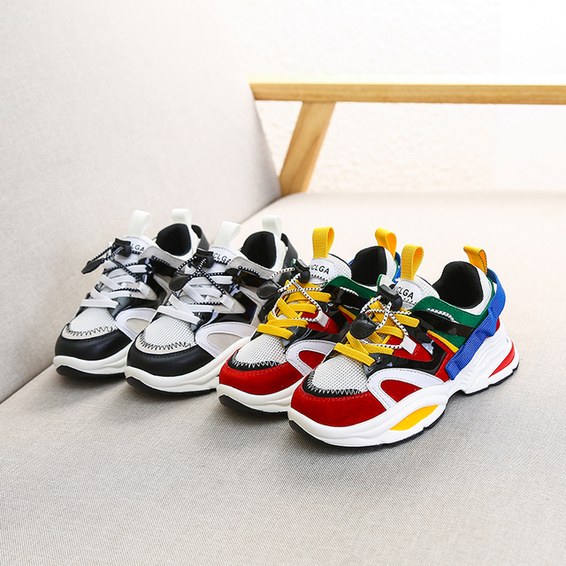 Spring New Fashion Baby Girls Black Genuine Leather Shoes Children Mesh Sport Sneakers Kids Casual Shoes Boys Brand Shoes 2019 3