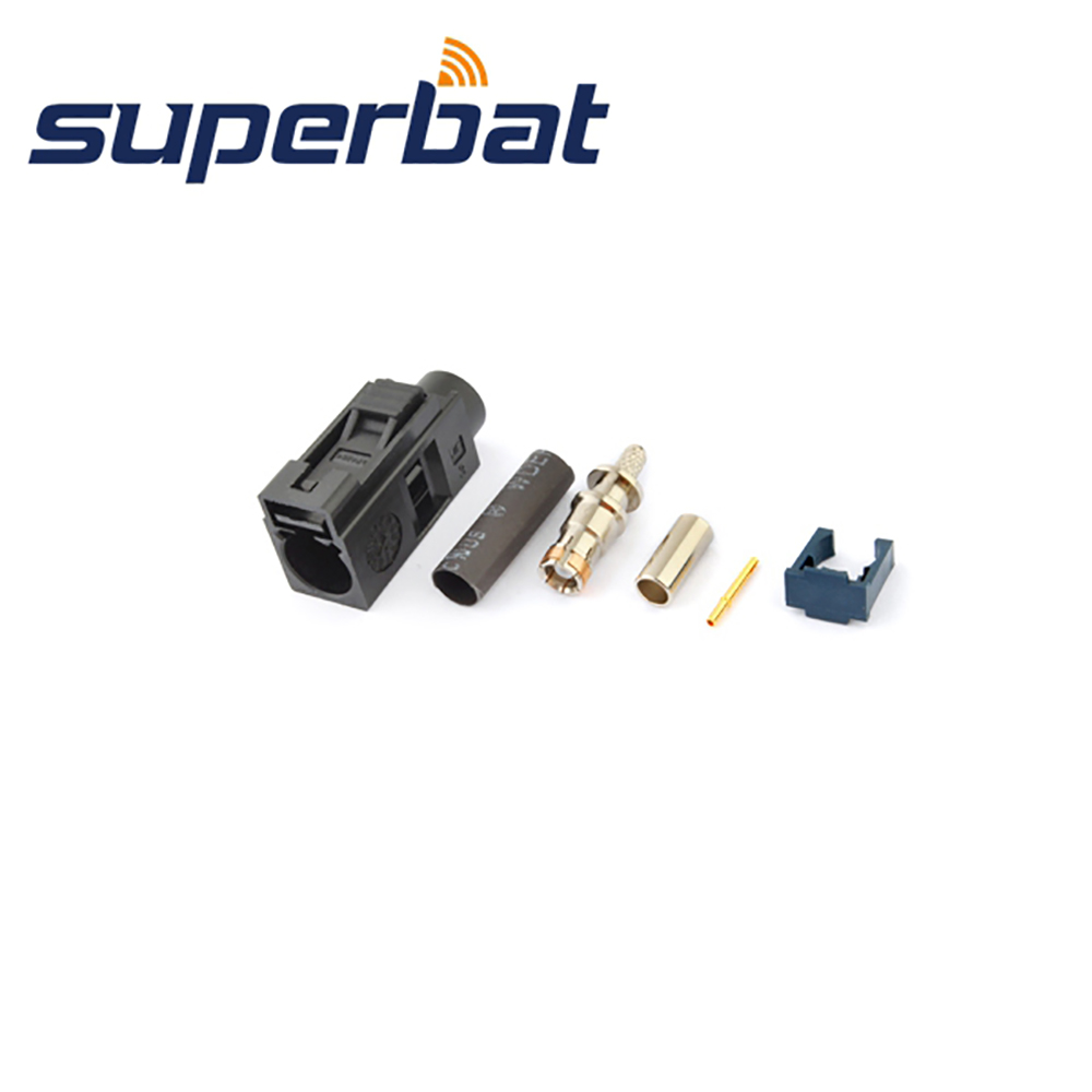Superbat Car DAB+ Antenna Fakra A Black/9005 Female Apply To Radio Without Phantom Supply Crimp For RG316 RG174 RF Coaxial Cable