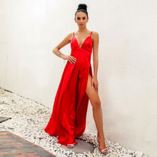 New Hot Fashion Nice Women Ladies Formal Dress Evening Party Sex V Neck Split Long