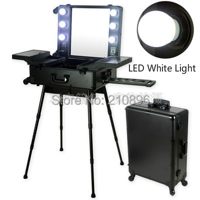 Led White Light Professional Aluminum Makeup Case With Light Mirror