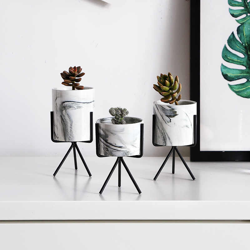 Enipate нордический минимализм, мраморный узор, Золотая керамика, железное искусство, Настольная Ваза, цветочный горшок, домашний Свадебный декор для гостиной