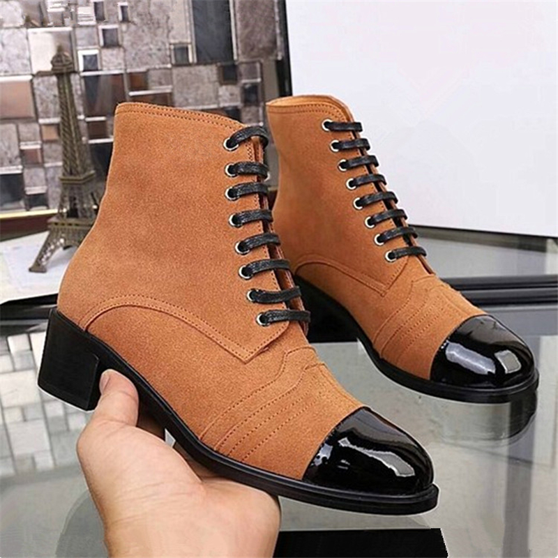 Luxury Brand Suede Leather Woman Ankle Boots Fashion Patchwork Lace Up Martin boots New Chunky High Heeks Gladiator Shoes Woman brand new suede leather women platform boots famous designer high heels dress shoes woman gladiator luxury women ankle boots