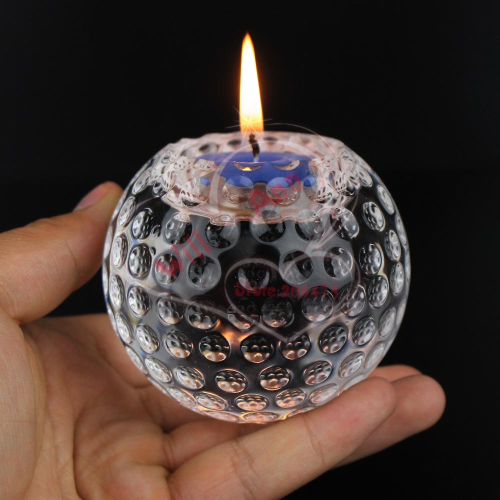 Shining Golf Tealight Candle Holder Dinner Decoration Crystal Business Gifts
