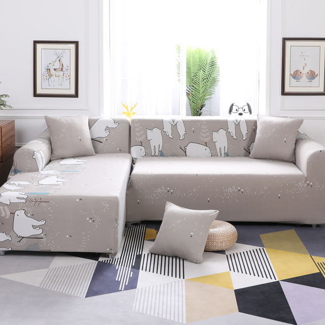 Cartoon White Polar Bear Pattern 1Pcs Stretch Suede Sectional Sofa Cover  Slipcovers For L Shape