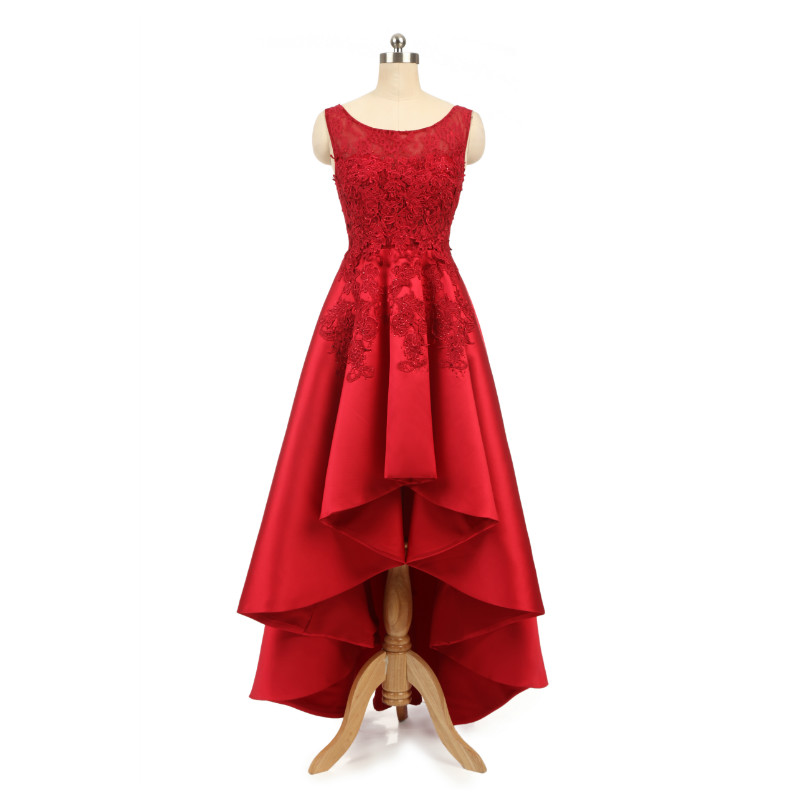 W.JOLI Sexy Asymmetrical   Evening     Dress   Red Satin Lace Appliques Bride Banquet Elegant Wedding Prom   Dresses   Party Gown