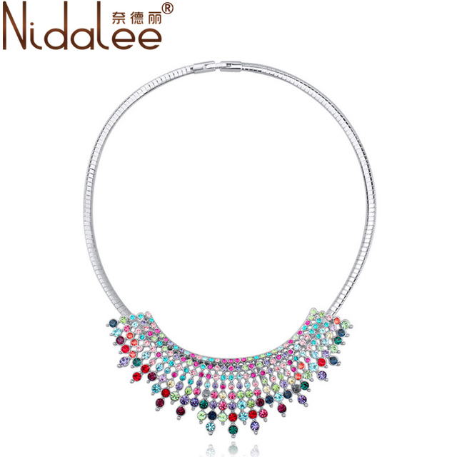 Nidalee Hot Multicolor Collar Necklace  High quality Top zircon necklaces for women Fashion Necklaces & Pendants jewelry CN1562