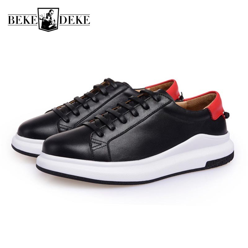 Top Brand Thick Bottom Casual Shoes Men Round Toe Lace Up Students Footwear Genuine Leather Breathable Comfort Streetwear Shoes tfsland men women genuine leather loafers students white shoes unisex spring round toe lace up breathable walking shoes sneakers
