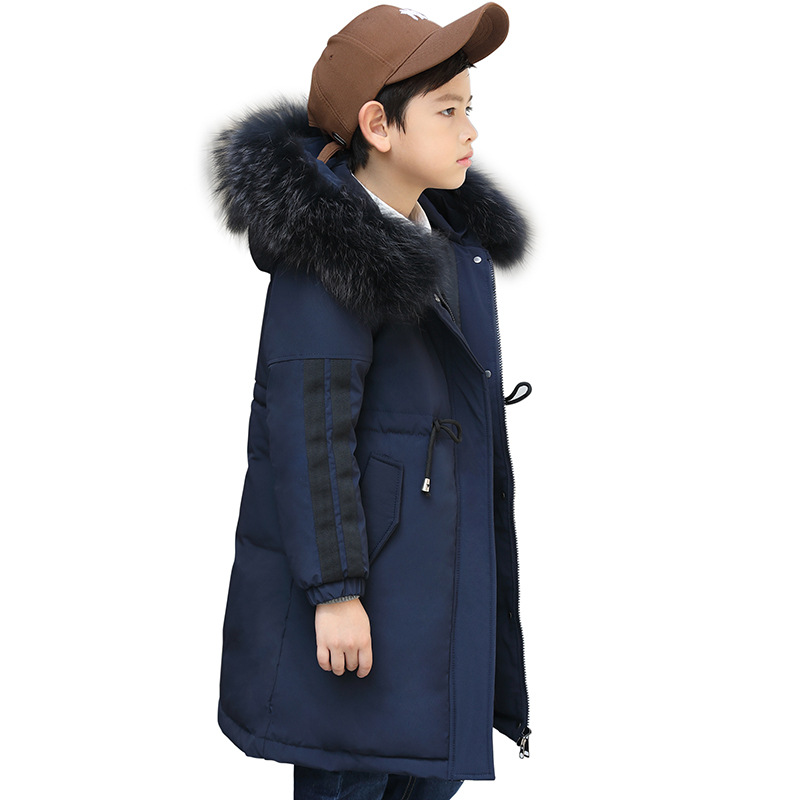 Children Hooded Down Jackets Boys Cotton Thicken Fur Collar Outerwear Kids Winter Patchwork Snowsuits Jacket AA51908 winter jacket female parkas hooded fur collar long down cotton jacket thicken warm cotton padded women coat plus size 3xl k450