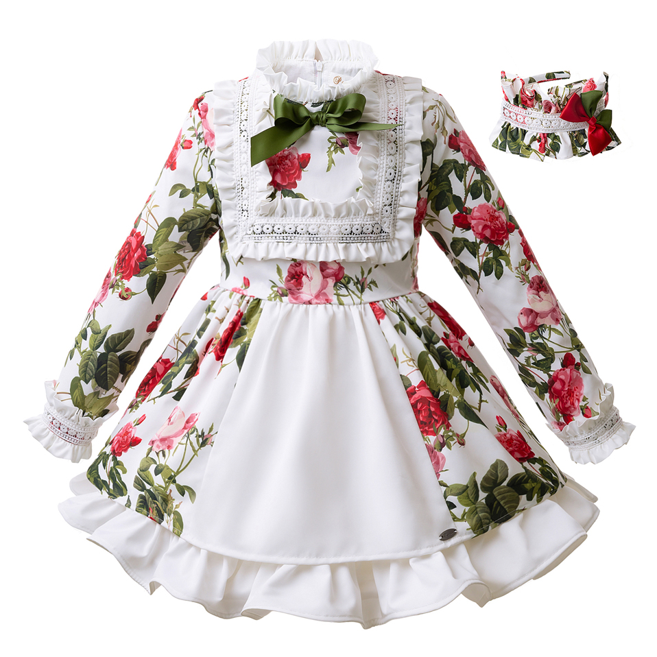 Pettigirl White Floral Girl Dress Wtih Hairband Autumn Party Dresses For Girls Bontique Kids Wear G DMGD103 B219-in Dresses from Mother & Kids