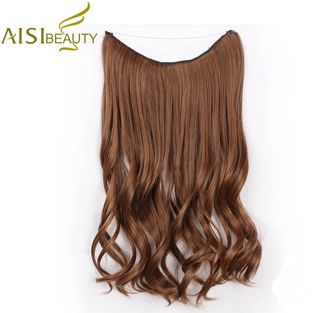 Aisi Beauty Long Synthetic Wavy Hair Extensions Fish Line With No