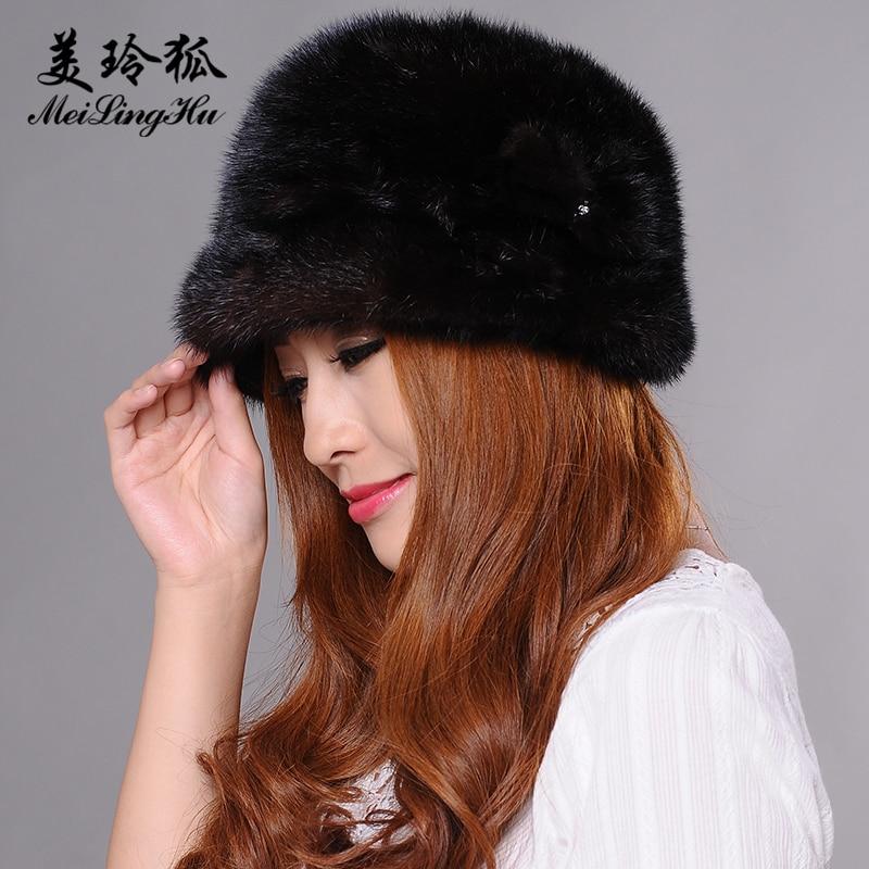 Véritable vison fourrure pompon chapeaux femmes bonnets chapeau naturel vison fourrure chaud nouveaux Skullies et bonnets pour femmes Cap chapeaux d'hiver - 3