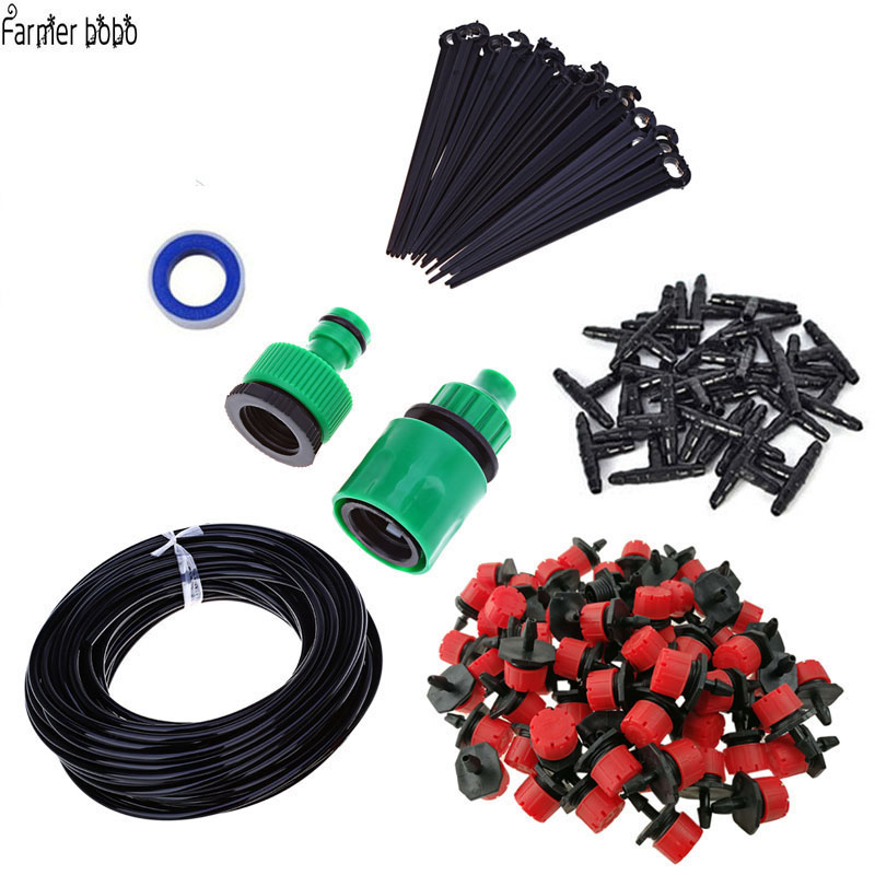 30m Drip irrigation system portable automatic watering garden hose with 4/7mm tee and connector nozzle