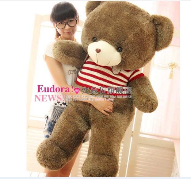 Stuffed animal Teddy bear red stripes cloth bear about 55 inch plush toy 140 cm bear throw pillow doll wb521 stuffed animal plush 120cm tie teddy bear plush toy pink teddy bear doll gift t6135