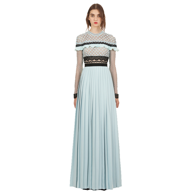 HAMALIEL Self-Portrait Spring Pleated Long Dress 2019 Runway Women Chiffon Patchwork Lace Hollow Out Crochet Split Party Dress