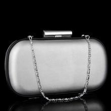 Luxus Silber Abendtasche Ovale Form Silber Hochzeit Geldbörsen Classis Solide Kette Frauen Shoudler Taschen Bankett Party Kupplung Handtasche