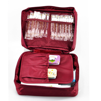 Free Shipping Wine Red Outdoor Travel First Aid Kit Bag Home Small Medical Box Emergency Survival