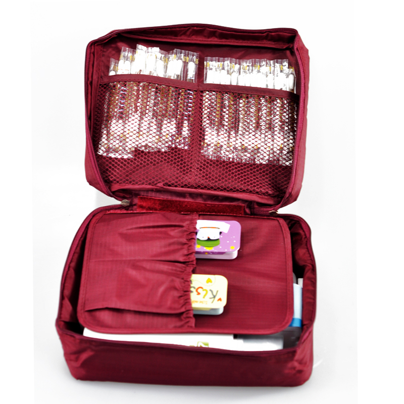 Free Shipping Wine Red Outdoor Travel First Aid Kit Bag Home Small Medical Box Emergency Survival kit Treatment Outdoor Camping portable penlight torch medical emt surgical first aid flashlights lights free shipping