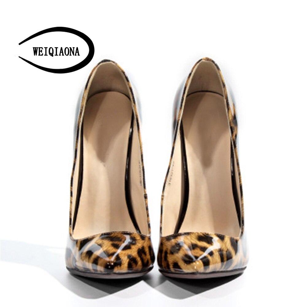 Leopard Mode 45 Léopard Talon Weiqiaona Taille 2018 De Femmes Cuir Partie Sexy Véritable Haut 38 Chaussures Grande Pompes En Robe xHxOP