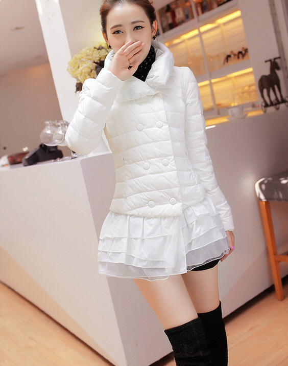 2013 Winter WomenS Plus Size Solid Padded Down Jacket Long Double-Breasted Turtleneck Flounced Hem Duck Down Coat H2018