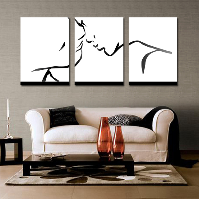 abstract wall art for living room. Black Abstract Wall Art Lovers Painting Simple Kiss Pattern Oil  For Living Room Home