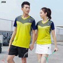 ZMSM Women/Men Quick Dry Badminton Set V-neck Table Tennis Uniform Training Suit Shirts Shorts & Skirts Sportswear Y120