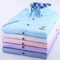 YLY lange mouwen plus size 5XL mannen casual shirt mannelijke business overhemd mannen merk sociale oxford shirts blauw wit