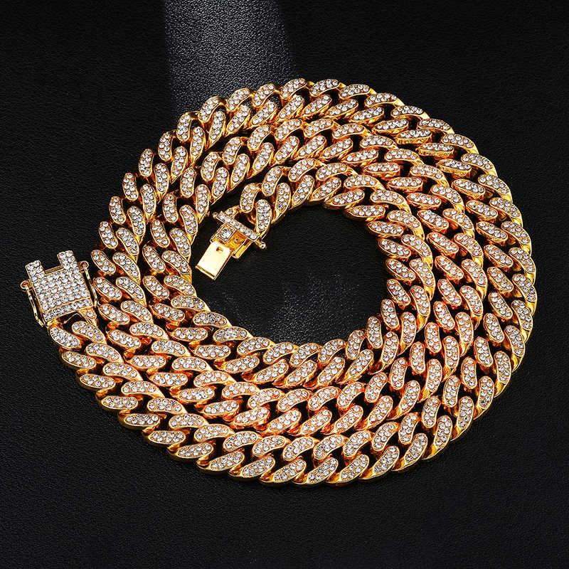 D & Z Hip Hop 13mm lien cubain chaîne pour hommes glacé Bling strass Chaine Homme bijoux de mode en gros