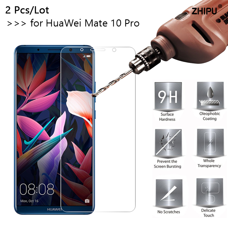 2 Pcs/lot 2.5D 0.26Mm 9H Premium Tempered Glass For Huawei Mate 10 Professional Display Protector Protecting Movie For Huawei Mate 10 Professional