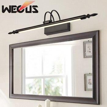 Популярные европейские черные светодиодные зеркальные лампы, американская Ретро лампа для ванной комнаты, светильник для мытья комнаты, сп...